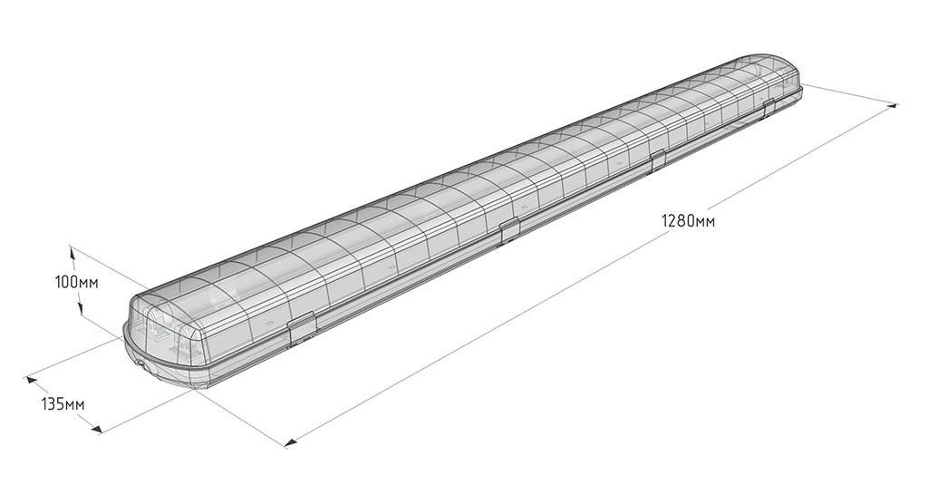 Светильник светодиодный Arctic led IP65 ЛСП 2х36, 32 вт матовый
